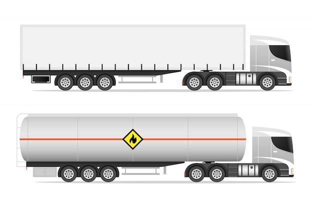 Illustrationssatz von ikonen-lastwagen