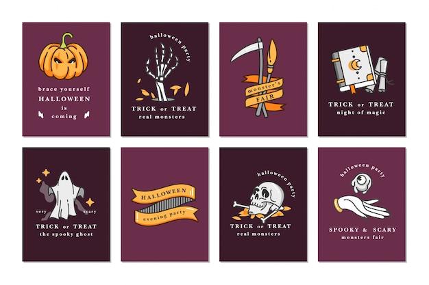 Illustrationssatz von linearen symbolen für happy halloween. glückliche halloween-grußkarten.