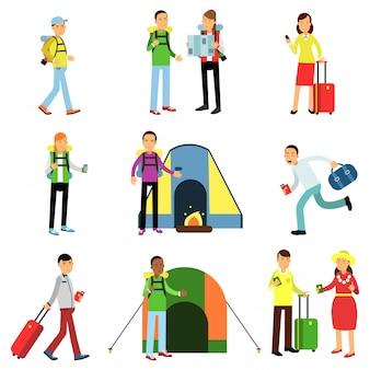 Illustrationssatz von männern und frauen touristen in aktion. reisende mit gepäck, camping erholung, familienreisen, wandern