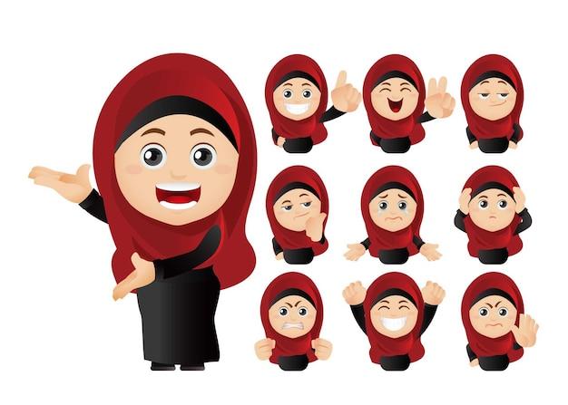 Illustrationssatz von muslimischen avataren