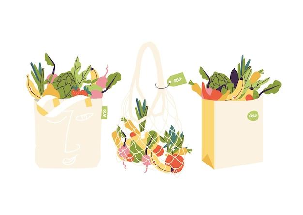 Illustrationssatz von öko-einkaufstaschen mit produkten