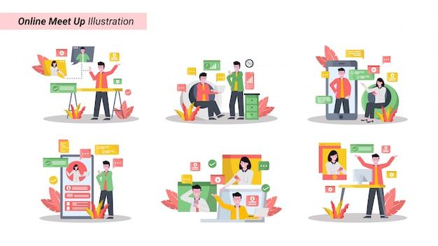 Illustrationssatz von online-treffen zusammen mit tablet-smartphones und laptops