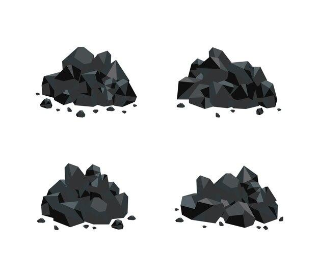 Illustrationssatz von verschiedenen haufen schwarzer kohle auf weiß