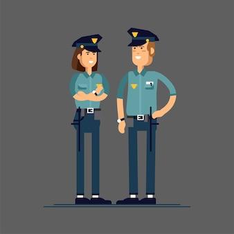 Illustrationssatz weiblicher und männlicher polizeicharakter.