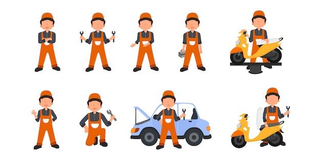 Illustrationsset mechaniker junge