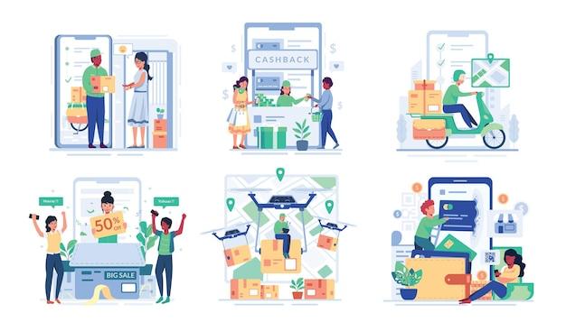 Illustrationsset mit mann und frau genießen online-shopping im cartoon-charakter-stil,
