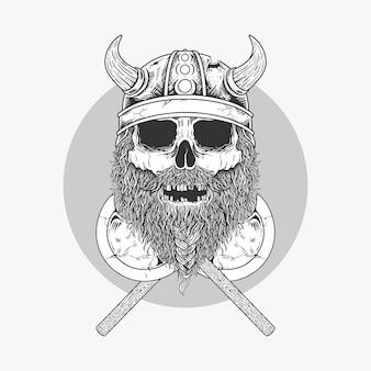 Illustrationsskizze wikingerschädel mit zwei gekreuzten axt