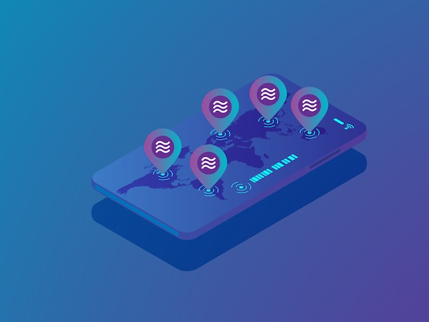 Illustrationsstift der waagemünze mit weltkarte auf dem mobilen smartphonevektor isometrisch