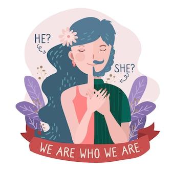 Illustrationsstil der geschlechtsidentität