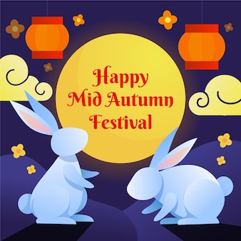 Illustrationsstil des mittherbstfestivals