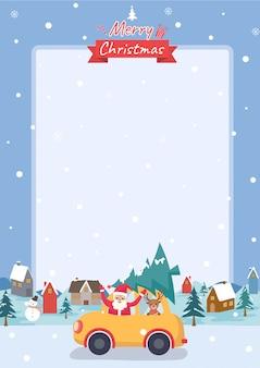 Illustrationsvektor des rahmens der frohen weihnachten mit weihnachtsmann-ren und weihnachtsbaum auf dem auto am stadthintergrund.