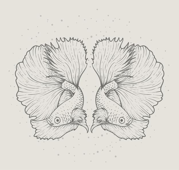 Illustrationsvektor schöne betta-fisch-monochrom-art