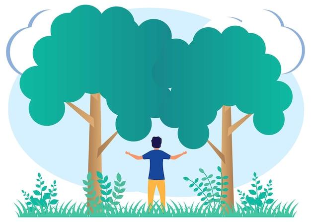 Illustrationsvektorgrafik-cartoon-figur der pflege für die körperliche gesundheit und zum schutz der natur.