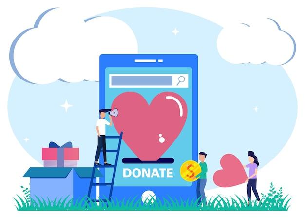 Illustrationsvektorgrafik-cartoon-figur der spendenhilfe teilen