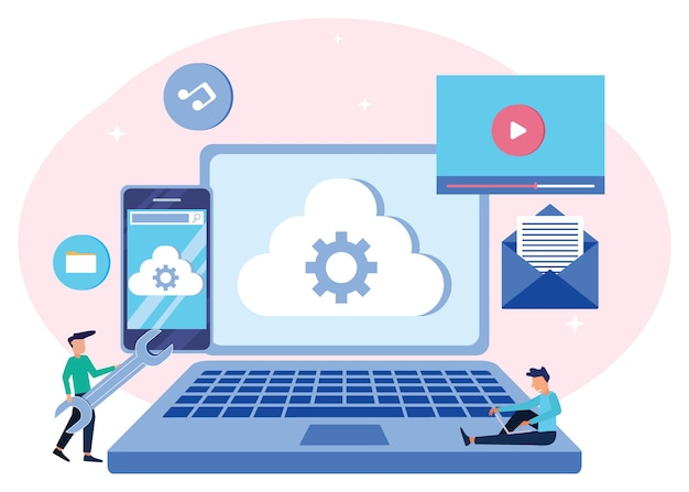 Illustrationsvektorgrafik-cartoon-figur des cloud-computing