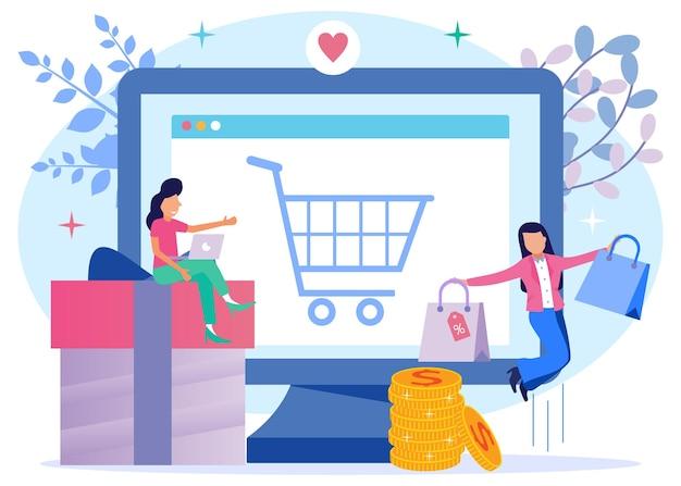 Illustrationsvektorgrafik-cartoon-figur des online-shoppings