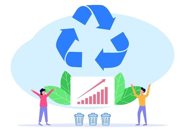 Illustrationsvektorgrafik-cartoon-figur des recyclings