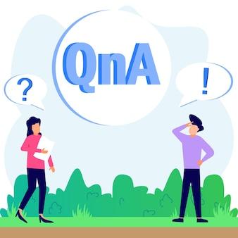 Illustrationsvektorgrafik-cartoon-figur von qna