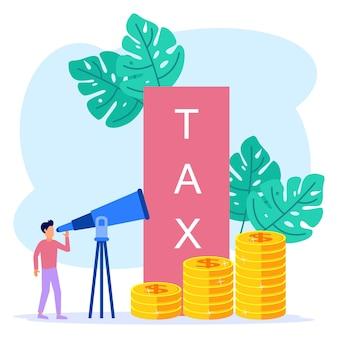 Illustrationsvektorgrafik-cartoon-figur von steuern zahlen
