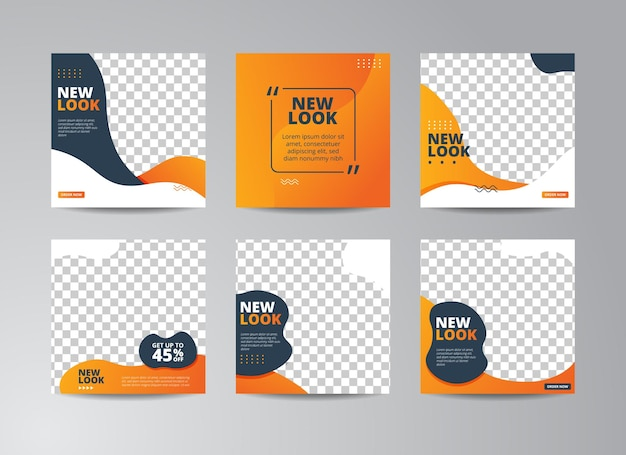 Illustrationsvektorgrafik des satzes der bearbeitbaren minimalen quadratischen fahnenschablone. orange, blaue und weiße hintergrundfarbe mit streifenlinienform. geeignet für social-media-posts und web-internet-anzeigen mit