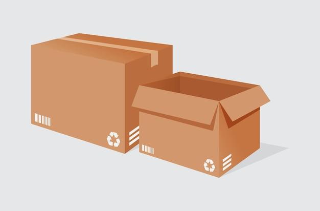 Illustrationsvektorgrafik von 2 lieferkartons auf weißem hintergrund perfekt für icon-business