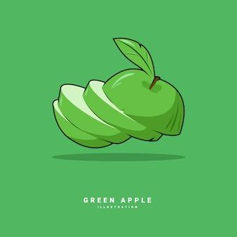 Illustrationsvektorgrafikdesign des grünen apfels mit vorderansicht und flachem design des gefüllten stils