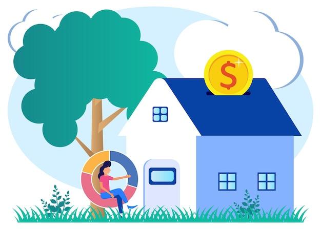 Illustrationsvektorgrafikzeichentrickfilm-figur der hypothek
