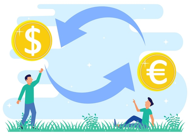 Illustrationsvektorgrafikzeichentrickfilm-figur des geldwechsels