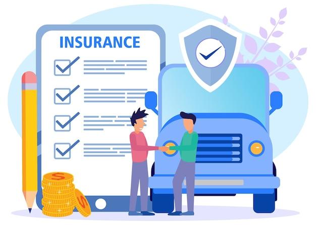 Illustrationsvektorgraphikzeichentrickfilm-figur der autoversicherung