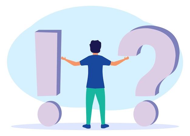 Illustrationsvektorgraphikzeichentrickfilm-figur der beantwortung von fragen