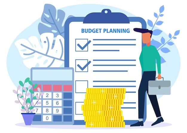 Illustrationsvektorgraphikzeichentrickfilm-figur der budgetplanung