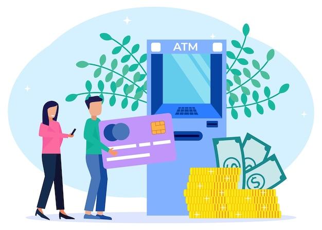 Illustrationsvektorgraphikzeichentrickfilm-figur der geldabhebung