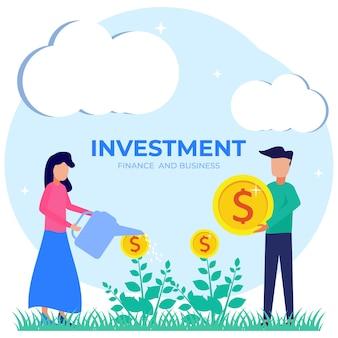Illustrationsvektorgraphikzeichentrickfilm-figur der geschäftsinvestition