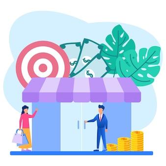Illustrationsvektorgraphikzeichentrickfilm-figur der wirtschaftsförderung