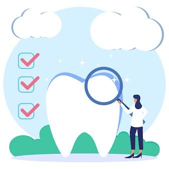 Illustrationsvektorgraphikzeichentrickfilm-figur der zahnmedizinischen klinik