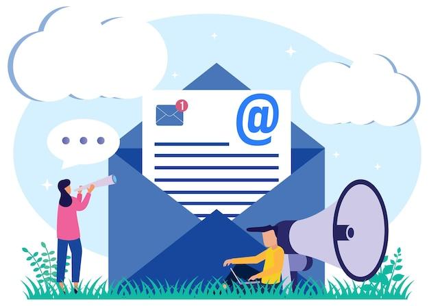 Illustrationsvektorgraphikzeichentrickfilm-figur des e-mail-marketings