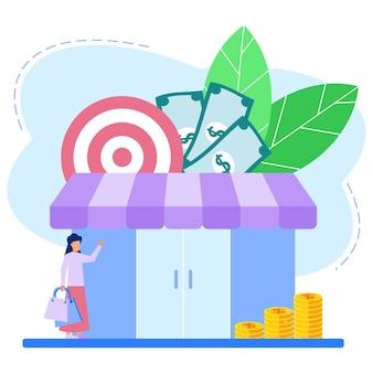 Illustrationsvektorgraphikzeichentrickfilm-figur des einkaufens