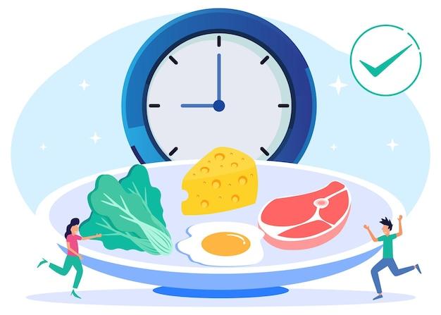 Illustrationsvektorgraphikzeichentrickfilm-figur des gesunden und ausgewogenen essens