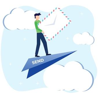 Illustrationsvektorgraphikzeichentrickfilm-figur von e-mail-diensten