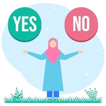 Illustrationsvektorgraphikzeichentrickfilm-figur von ja oder nein