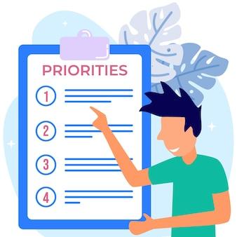Illustrationsvektorgraphikzeichentrickfilm-figur von prioritäten