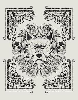 Illustrationsvektorhundekopf mit schädel und rosenblume