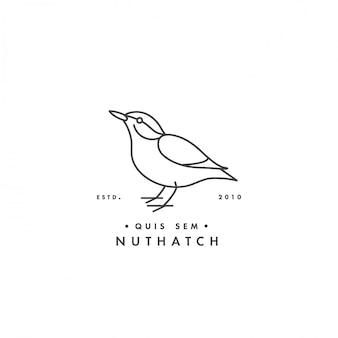 Illustrationsvogel im trendigen linearen stil. kleiber-logo lokalisiert auf weißem hintergrund.