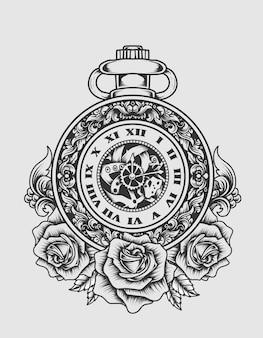 Illustrationsweinuhr mit rosenblume