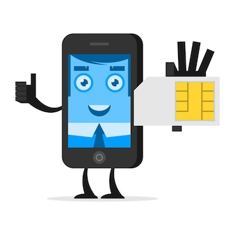 Illustrationszeichentelefon hält sim-karte, format eps 10