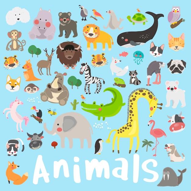 Illustrationszeichnungs-artsatz von wild lebenden tieren