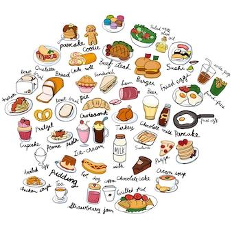 Illustrationszeichnungsart der lebensmittelsammlung