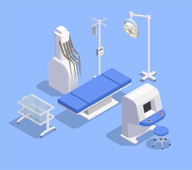 Illustrationszusammensetzung für medizinische geräte mit bildern von therapeutischen geräten für patiententische und robotermanipulatoren mit fernbedienung