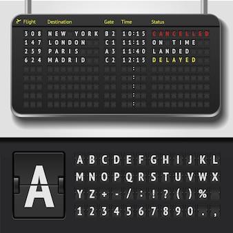 Illustrativector illustration des realistischen flughafen-flip-zeitplans und des anzeiger-alphabets des realistischen flughafen-flugplans und des anzeigetafel-alphabets