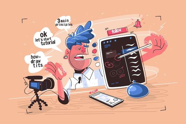 Illustrator bei video-tutorial-vektor-illustration. mann, der zeichentechniken auf flachem design des grafiktabletts erklärt